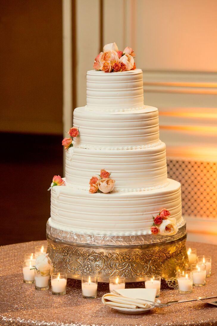 Four-Tier, White, Round Wedding Cake