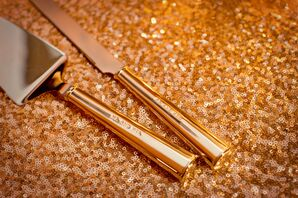 Gold Serving Set on Sequin Tablecloth