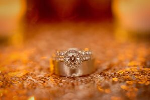 Round Engagement Ring on Sequin Tablecloth