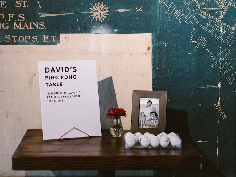 how to honor loved one at wedding ping pong themed memory table
