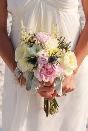 Rose and Peony Bouquet With Thistles