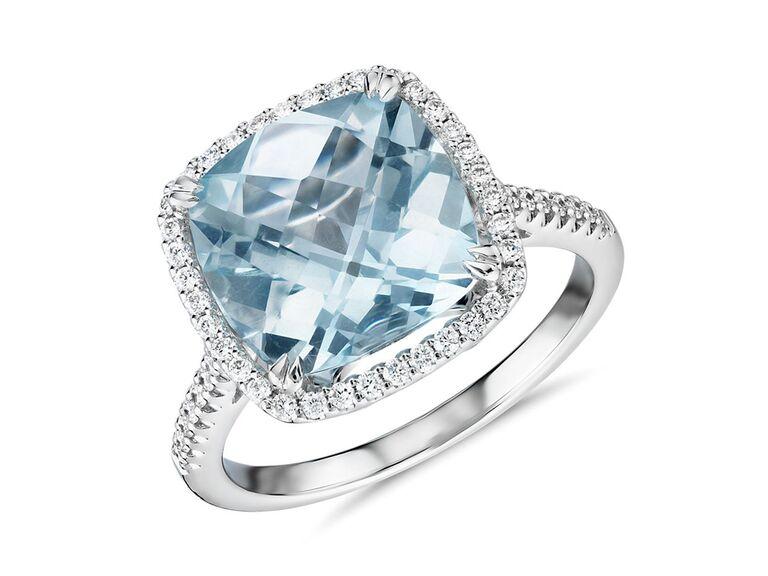 blue nile square aquamarine silver engagement ring with diamonds