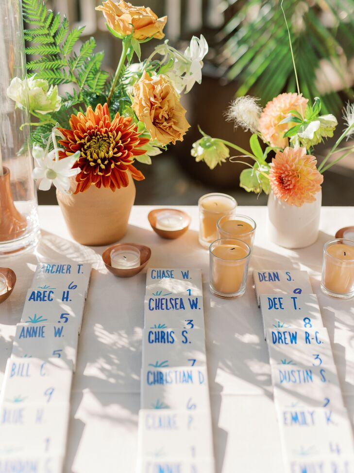 Tile Escort Cards for Wedding at The Greenhouse at Driftwood