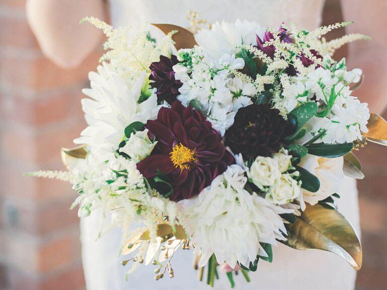 Purple Dahlia and Cream Hydrangea Bridal Bouquet