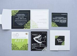 Green, Black and White Invitation Suite with Botanical Modern Illustration