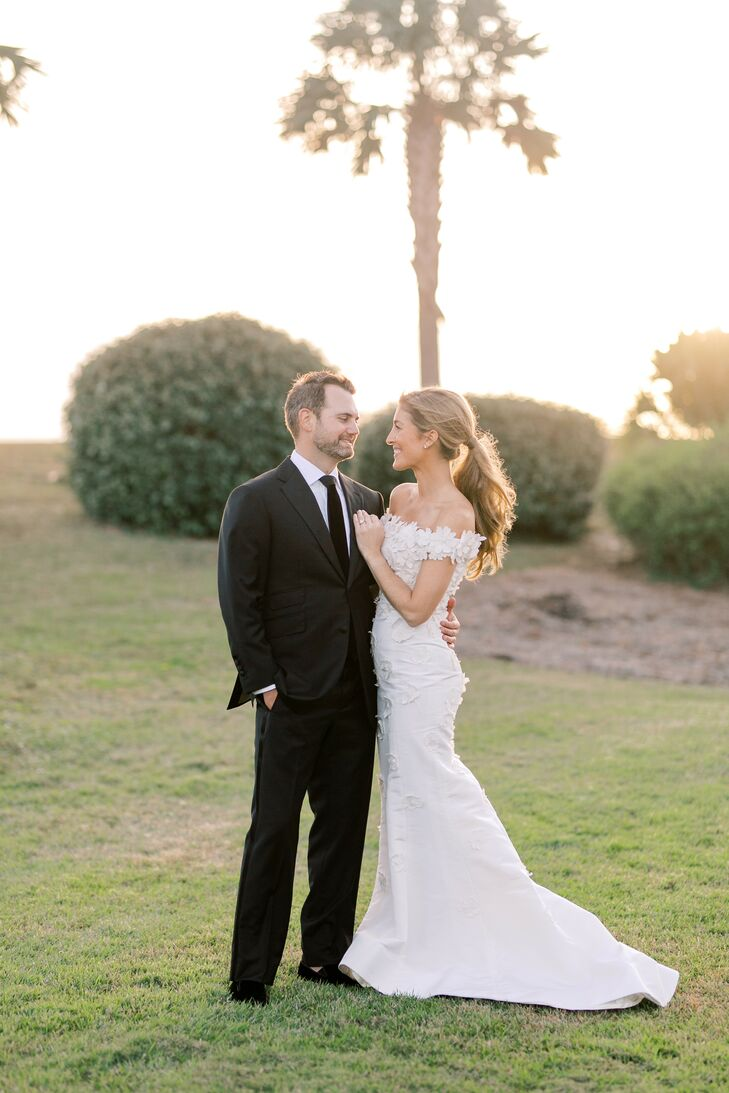 Bride and Groom Sunset Portraits at The Seabrook Island Club in South Carolina