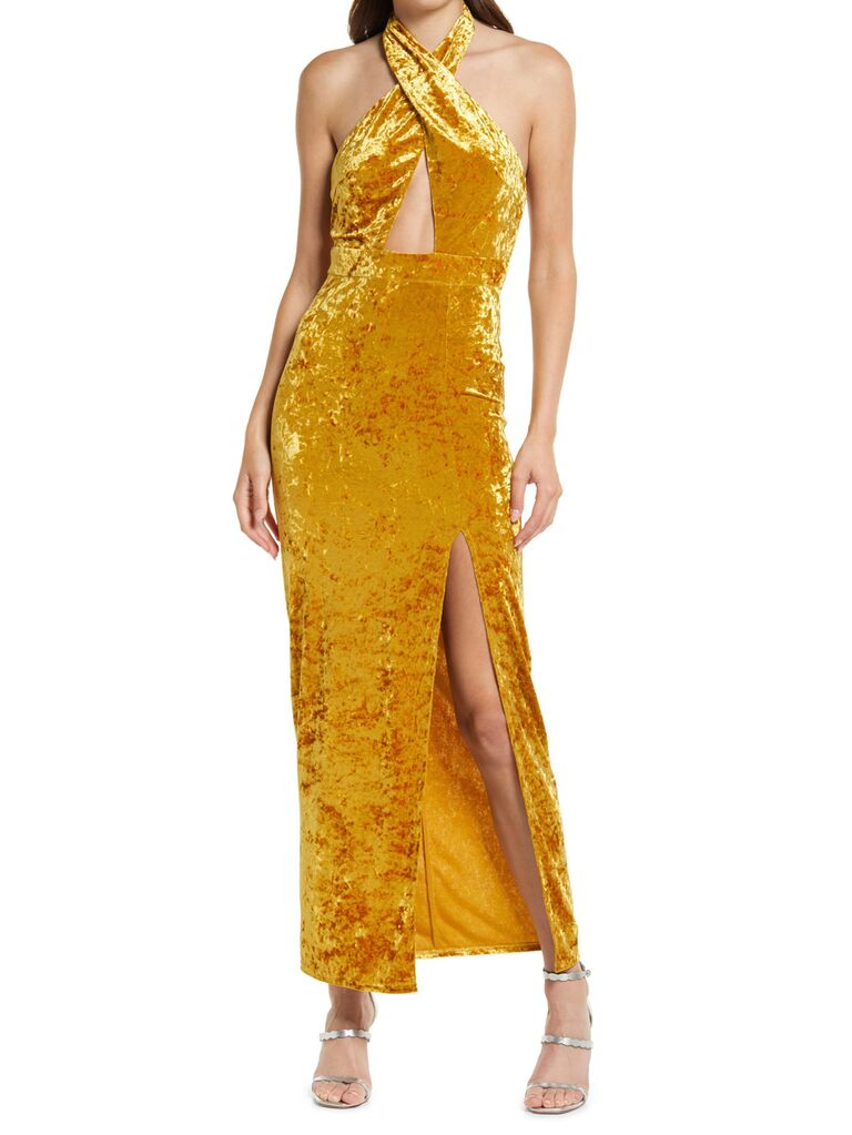 nordstrom lulus gold velvet wedding guest long dress with halter neckline and chest cutout