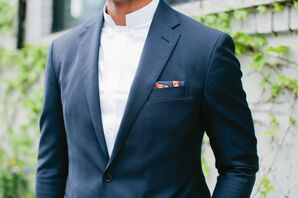 Modern Navy Jacket with Red and Blue Pocket Square