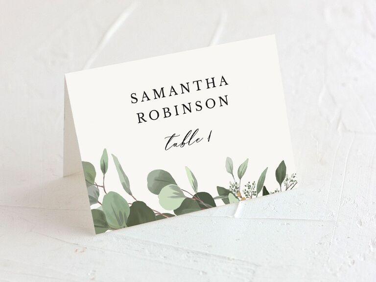 wedding place card rustic design