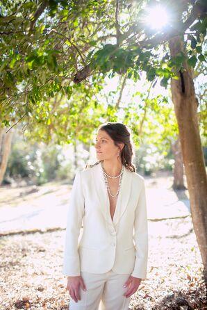 Custom White Bridal Suit