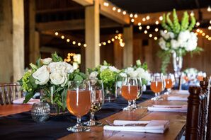 Exposed Farm Tables with Navy Runners