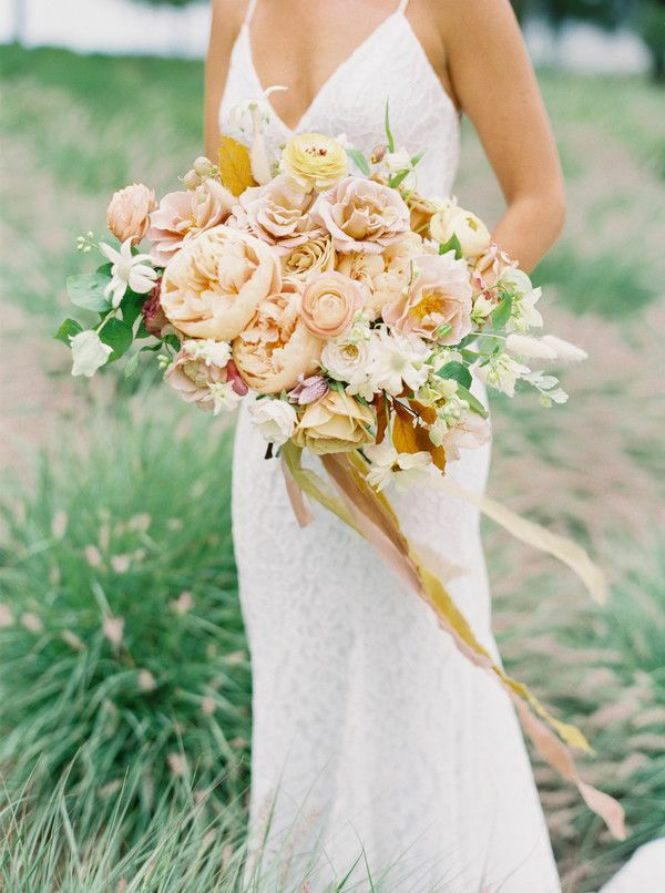 peach-hued bouquet with peonies and garden roses