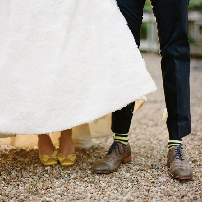 Sarah and Lee added some quirk to their outfits with yellow bow-topped shoes and striped socks.