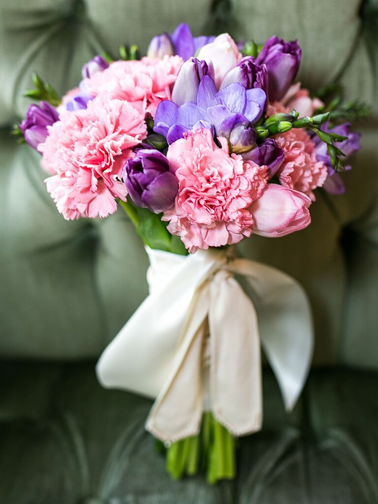 Carnation and tulip wedding bouquet ideas