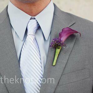 Purple Lily Boutonniere