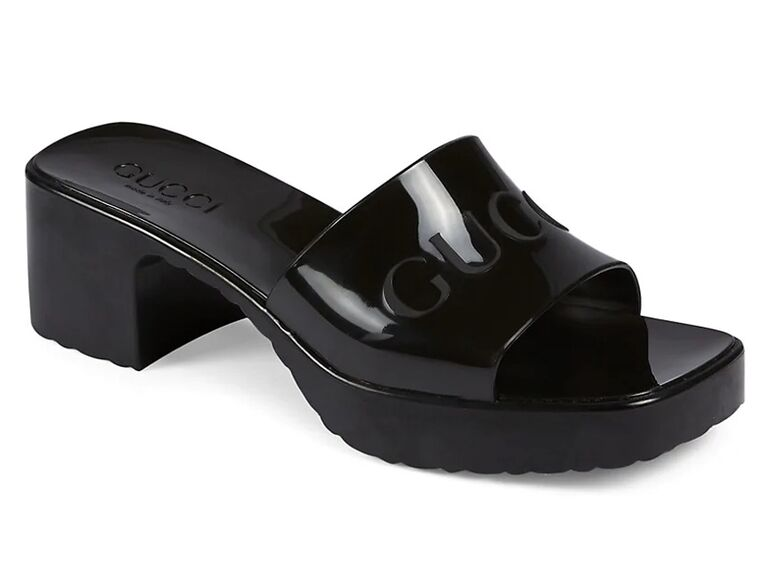 saks fifth avenue black gucci bride slippers with chunky heel