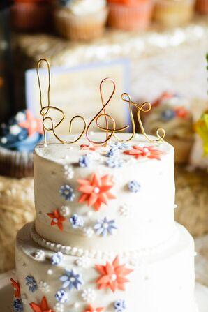 "Gold Wire ""K & R"" Wedding Cake Topper"