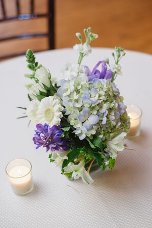 Hydrangea, Gerbera Daisy and Delphinium Centerpieces