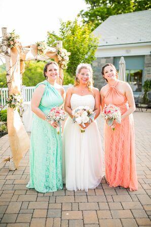 Mint and Peach Bridesmaid Dresses