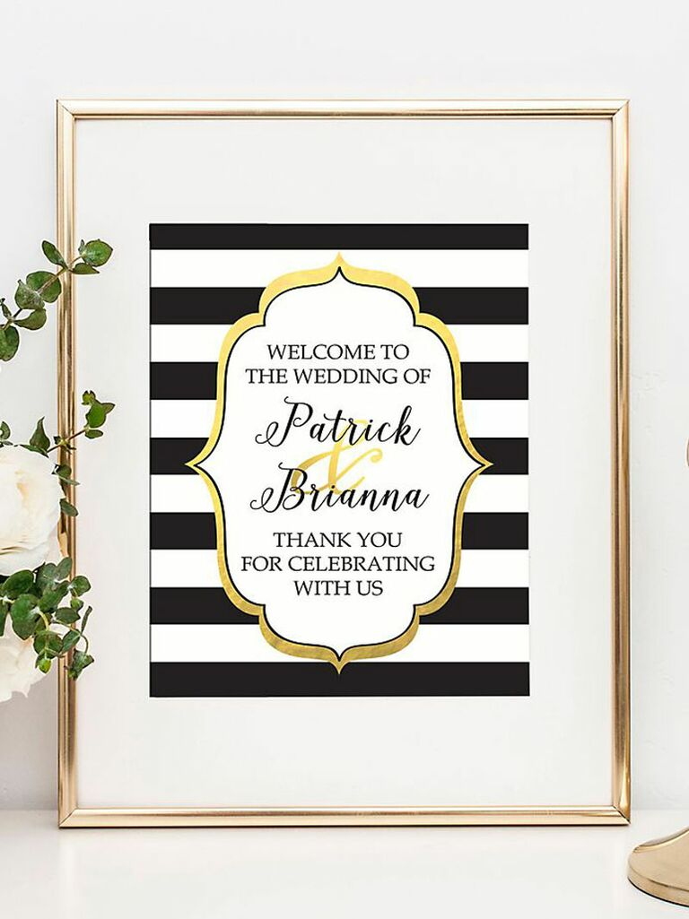 Striped wedding welcome sign