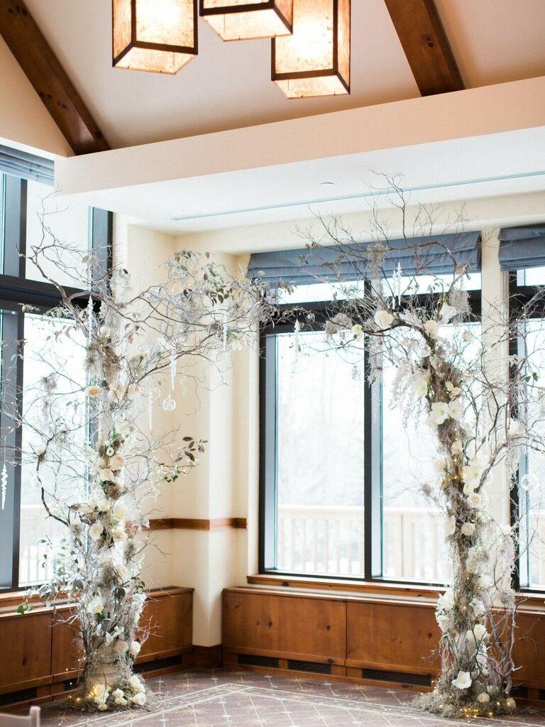 winter wedding ideas silver arch