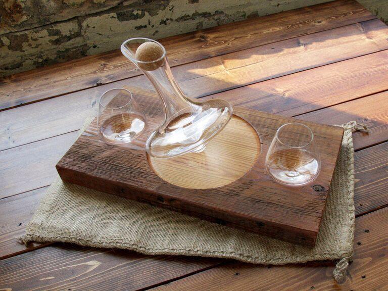 Spinning decanter bridal shower gift idea