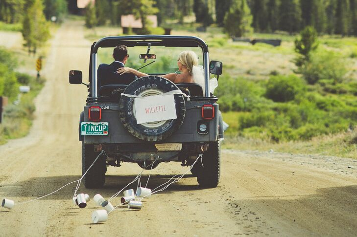 """""""I loved driving to the church with my dad and driving away with Carey after the ceremony in the little Jeep,"""" Gracie says. """"I grew up driving around Tincup in that jeep, in fact I learned to drive in it. So the symbolism of my dad giving me away to Carey to start a new adventure was so beautiful."""""""