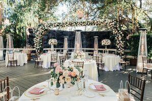 Reception Decor With Pink-and-White Roses and Chandeliers