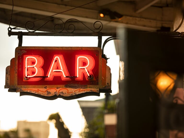 Neon Bar sign on Bourbon Street