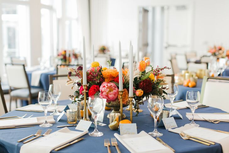 Tables with Blue Linens and Taper Candles for Georgia Wedding