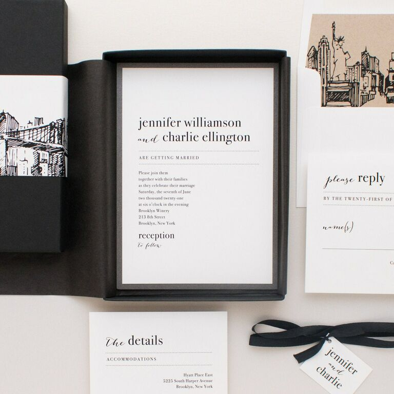 Modern black and white design and sketch of city skyline