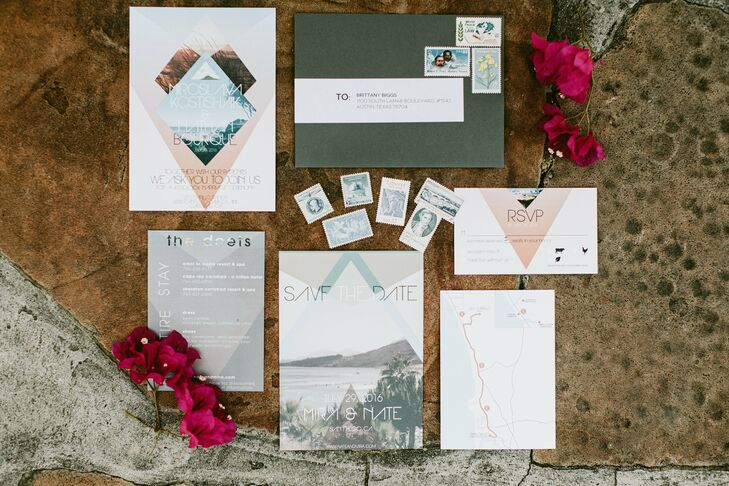 Invitation designer Brittany Biggs used sunset hues throughout the couple's invitation suite. Mira used these colors—fuchsia, coral and pink—as inspiration for her flowers.