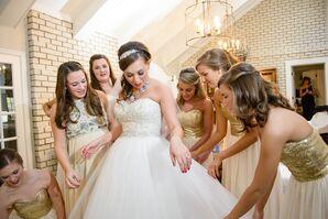 Gold Sequin Bodice Bridesmaid Dresses