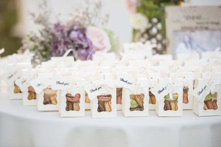 At the end of the night, guests went home with little boxes full of three flavors of macarons. Lidia and Nick loved the added sweetness of the gift. The boxes were decorated with simple black-and-white stamped thank-you cards.