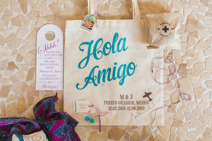 """Hola Amigo"" Monogrammed Welcome Bags"
