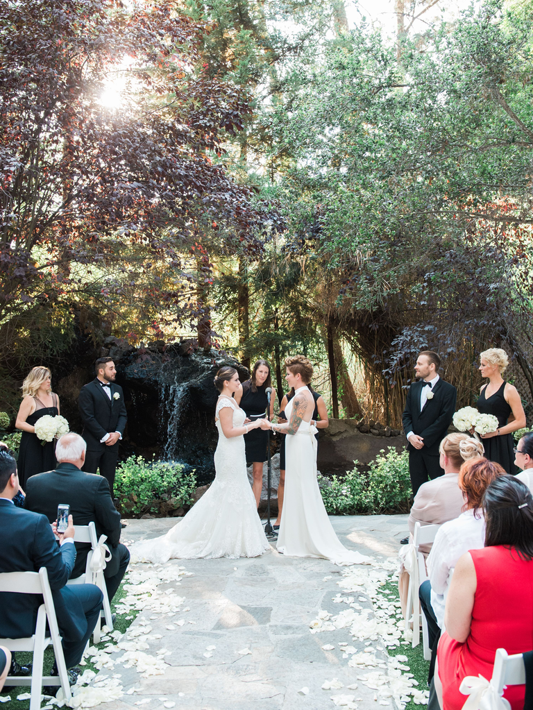 outdoor wedding ceremony forest backdrop