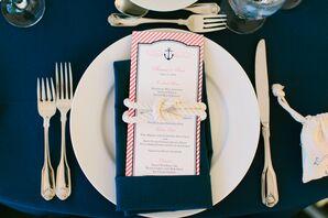 Navy and Pink Striped Nautical Meu Cards