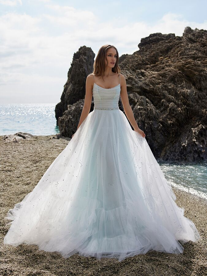 Ines by Ines Di Santo spaghetti strap A-line wedding dress with ruched bodice