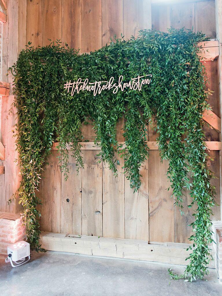 Laser-cut hashtag wedding decor