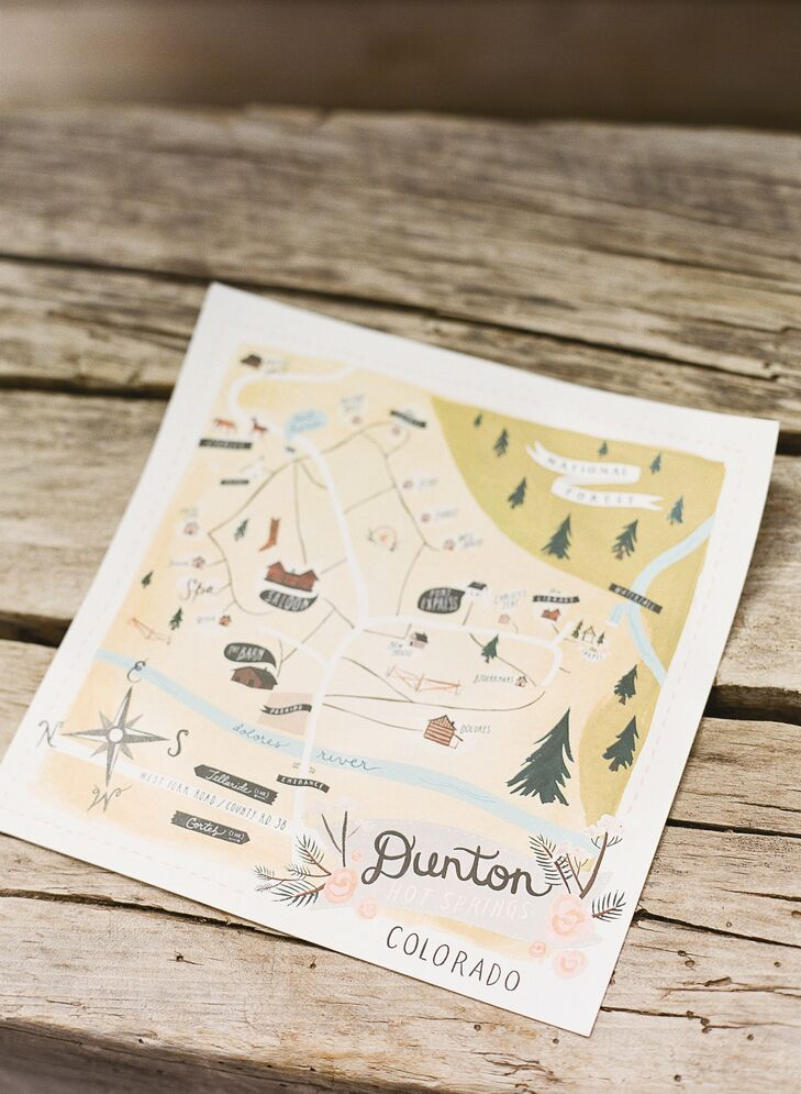 An illustrated map helped guests find the reception site, Denton Hot Springs.