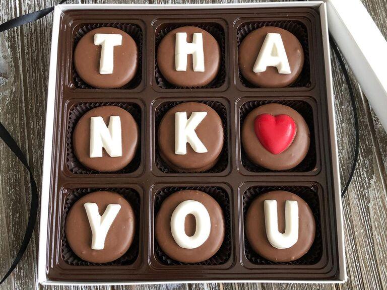 Thank You box of chocolates cheap bridesmaid gift