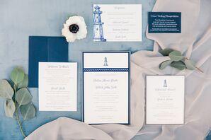 Custom Blue and White Lighthouse Invitations