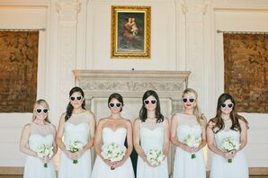 Ivory Amsale A-Line Bridesmaid Dresses