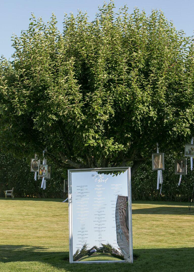 Mirror seating chart under tree