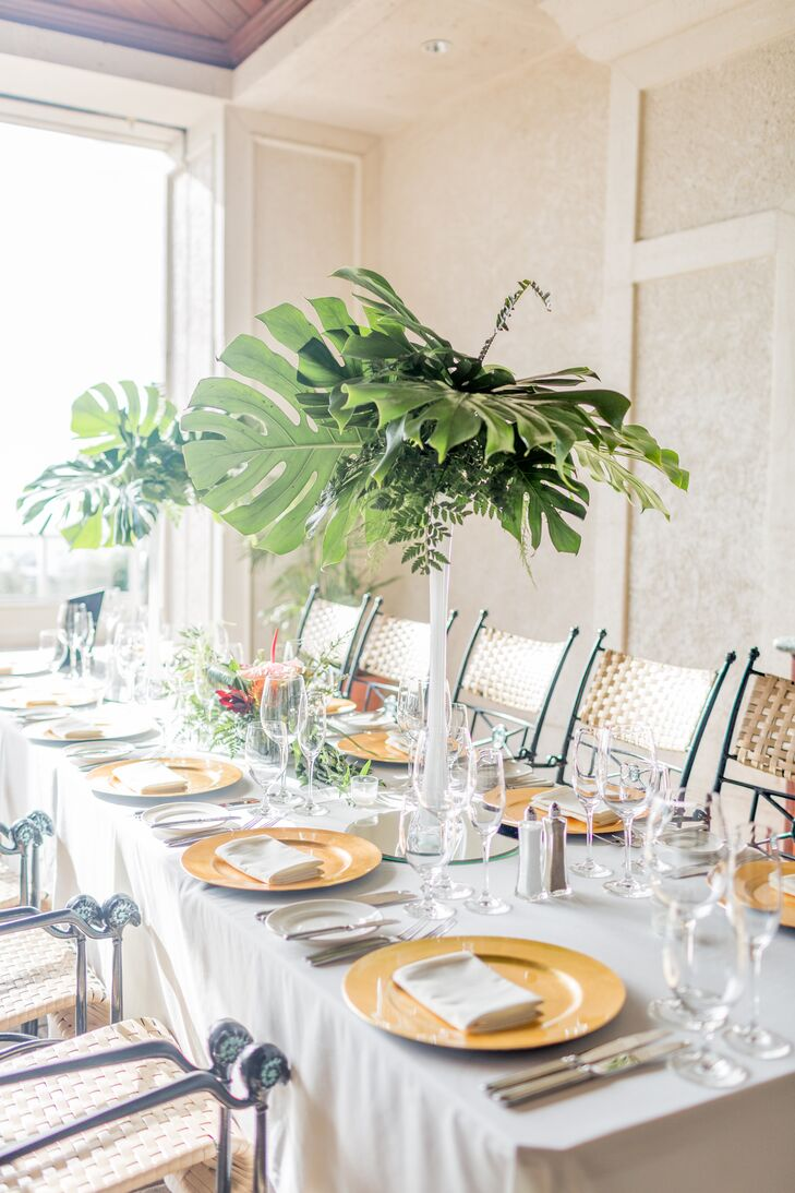 Tall Monstera Leaf Centerpieces