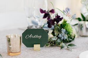 Spring, Whisky-Inspired Table Name and Centerpiece with Purple Irises