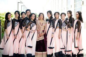 Traditional Pink Bridesmaid Saris