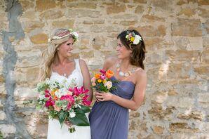 Slate Gray Strapless Bridesmaid Dresses