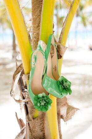 Nine West Tropical Green Bridal Heels