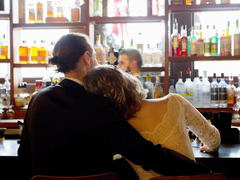 Bride and groom bar hopping.